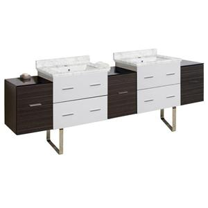 American Imaginations Xena 88.5-in Bianca Carara Marble Top with White Ceramic Single Hole Double Sink Floor Mount Vanity Set