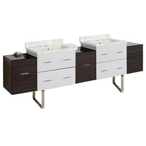American Imaginations Xena 88.5-in Bianca Carara Marble Top with Biscuit Ceramic Single Hole Double Sink Floor Mount Vanity Set