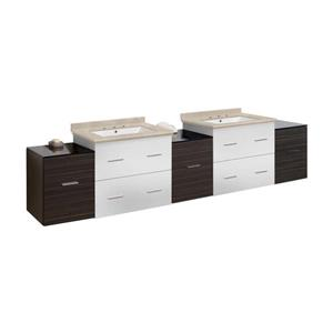 American Imaginations Xena 88.5-in Beige Marble Top with White Ceramic 8-in Three Hole Double Sink Wall Mount Vanity Set