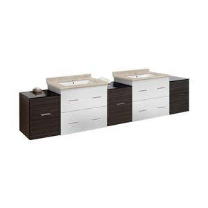 American Imaginations Xena 88.5-in Beige Marble Top with White Ceramic Single Hole Double Sink Wall Mount Vanity Set