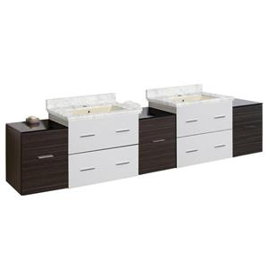 American Imaginations Xena 88.5-in Bianca Carara Marble Top with Biscuit Ceramic Single Hole Double Sink Wall Mount Vanity Set