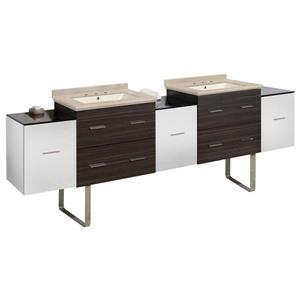 American Imaginations Xena 90-in Beige Marble Top with Biscuit Ceramic 8-in Three Hole Double Sink Floor Mount Vanity Set