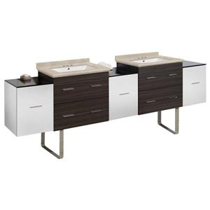 American Imaginations Xena 90-in Beige Marble Top with White Ceramic 4-in Three Hole Double Sink Floor Mount Vanity Set