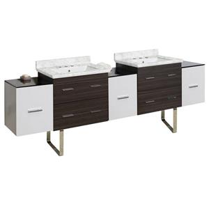 American Imaginations Xena 90-in Bianca Carara Marble Top with White Ceramic 8-in Three Hole Double Sink Wall Mount Vanity Set