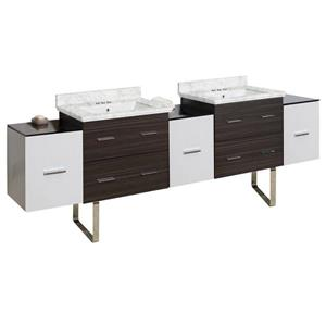 American Imaginations Xena 90-in Bianca Carara Marble Top with White Ceramic 4-in Three Hole Double Sink Floor Mount Vanity Set