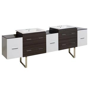 American Imaginations Xena 90-in White Ceramic Top with White Ceramic 4-in Three Hole Double Sink Floor Mount Vanity Set