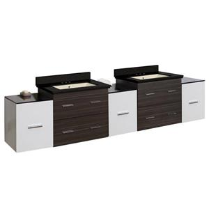 American Imaginations Xena 90-in Black Galaxy Quartz Top with Biscuit Ceramic 4-in Three Hole Double Sink Wall Mount Vanity Set