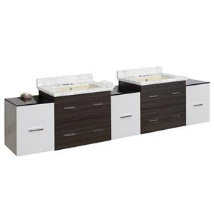 American Imaginations Xena 90-in Bianca Carara Marble Top with Biscuit Ceramic 4-in Three Hole Double Sink Wall Mount Vanity Set