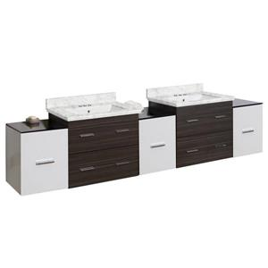 American Imaginations Xena 90-in Bianca Carara Marble Top with White Ceramic 4-in Three Hole Double Sink Wall Mount Vanity Set