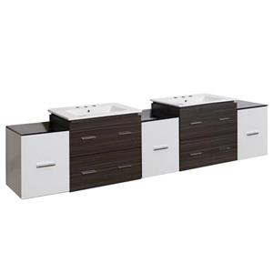 American Imaginations Xena 90-in White Ceramic Top with White Ceramic 4-in Three Hole Double Sink Wall Mount Vanity Set