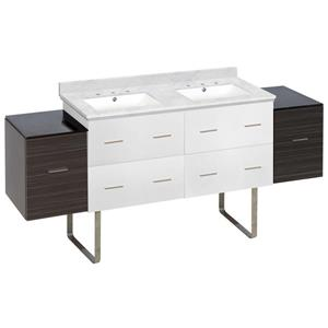 American Imaginations Xena 74.5-in Bianca Carara Marble Top with White Ceramic 8-in Three Hole Double Sink Floor Mount Vanity