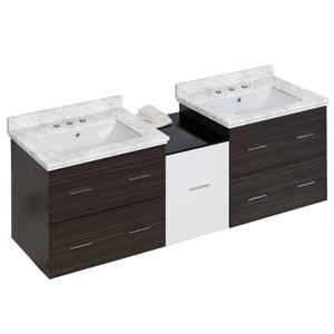 American Imaginations Xena Farmhouse 61.5-in Double Sink Multi Finishes Bathroom Vanity with Marble Top