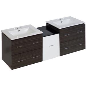 American Imaginations Xena Farmhouse 61.5-in Double Sink Multi Finishes Bathroom Vanity with Ceramic Top