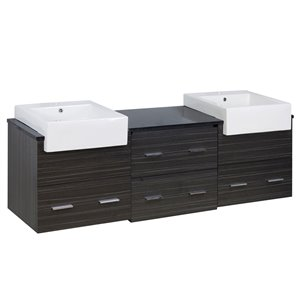 American Imaginations Xena Farmhouse 73.50-in Double Sink Grey Bathroom Vanity with Quartz Top