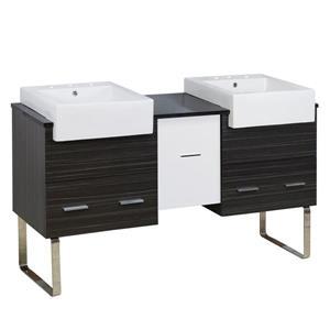 American Imaginations Xena Farmhouse 59.5-in Double Sink Multi Coloured Bathroom Vanity with Quartz Top