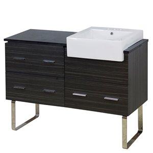 American Imaginations Xena Farmhouse 48.75-in Grey Bathroom Vanity with Quartz Top