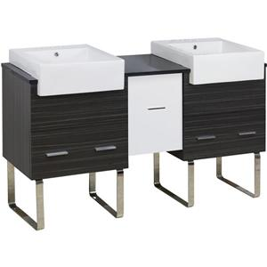 American Imaginations Xena Farmhouse 59.5-in Double Sink Multi Coloured Bathroom Vanity with Quartz Top