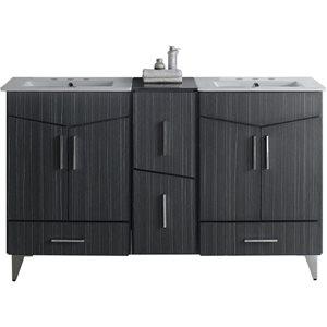 American Imaginations Xena Farmhouse 61.50-in Grey Bathroom Vanity with Ceramic Top