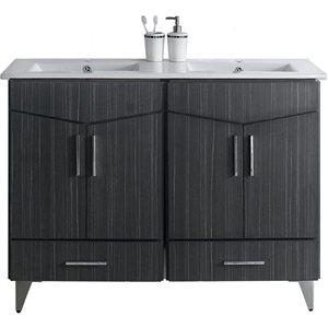 American Imaginations Xena Farmhouse 48.00-in Double Sink Grey Bathroom Vanity with Ceramic Top