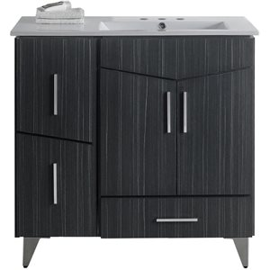 American Imaginations Xena Farmhouse 35.50-in Grey Bathroom Vanity with Ceramic Top