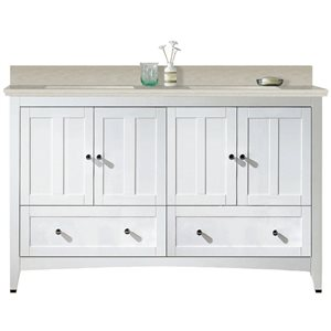 American Imaginations Xena Farmhouse 59-in Double SInk White Bathroom Vanity with Quartz Top