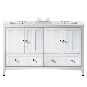 American Imaginations Xena Farmhouse 59-in Double SInk White Bathroom Vanity with Ceramic Top