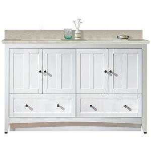 American Imaginations Xena Farmhouse 59-in White Double Sink Bathroom Vanity with Quartz Top