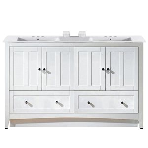 American Imaginations Xena Farmhouse 59-in White Double Sink Bathroom Vanity with Ceramic Top
