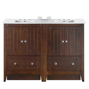 American Imaginations Xena Farmhouse 48-in Double Sink Brwon Bathroom Vanity with Ceramic Top