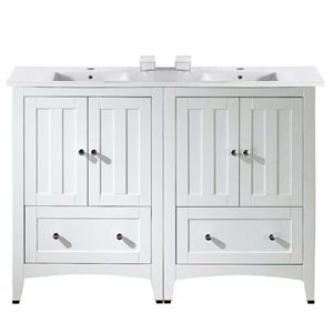 American Imaginations Xena Farmhouse 48-in White Double Sink Bathroom Vanity with Ceramic Top