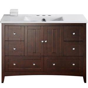 American Imaginations Xena Farmhouse 48-in Brown Bathroom Vanity with Ceramic Top