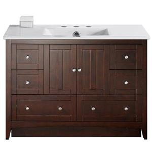 American Imaginations Xena Farmhouse 48-in Brown Bathroom Vanity with Ceramic Top