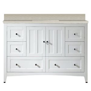 American Imaginations Xena Farmhouse 47.60-in White Bathroom Vanity with Marble Top