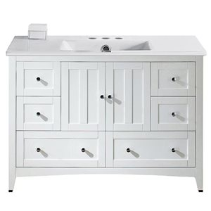 American Imaginations Xena Farmhouse 48-in White Bathroom Vanity with Marble Top