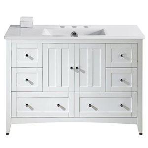 American Imaginations Xena Farmhouse 48-in White Bathroom Vanity with Ceramic Top