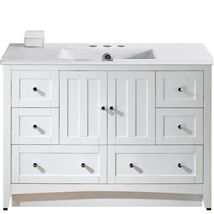 American Imaginations Xena Farmhouse 48-in White Bathroom Vanity with Ceramic Top
