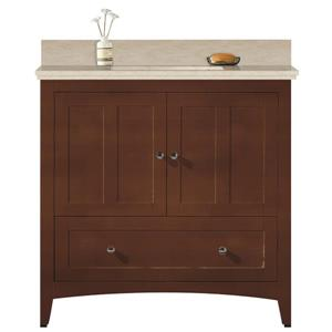 American Imaginations Xena Farmhouse 36-in Brown Bathroom Vanity with Marble Top