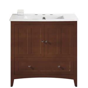 American Imaginations Xena Farmhouse 35.5-in Brown Bathroom Vanity with Ceramic Top