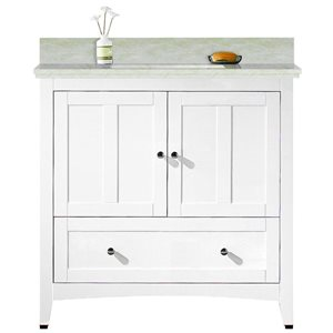 American Imaginations Xena Farmhouse 36-in White Bathroom Vanity with Marble Top