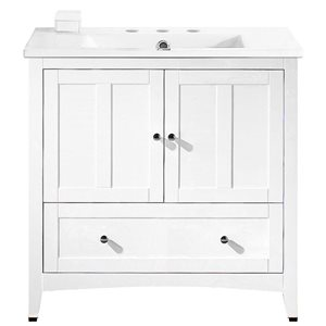 American Imaginations Xena Farmhouse 35.5-in White Bathroom Vanity with Ceramic Top