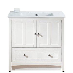 American Imaginations Xena Farmhouse 35.5-in White Bathroom Vanity with Ceramic Top