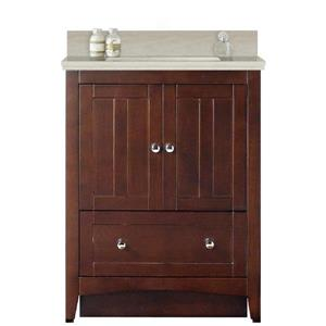 American Imaginations Xena Farmhouse 30.5-in Brown Bathroom Vanity with Quartz Top