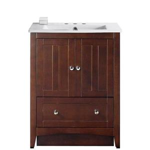 American Imaginations Xena Farmhouse 30-in Brown Bathroom Vanity with Ceramic Top