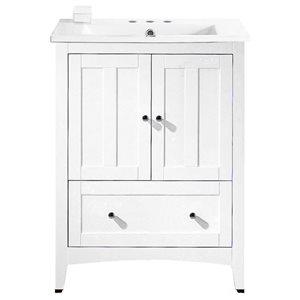American Imaginations Xena Farmhouse 30-in White Bathroom Vanity with Ceramic Top