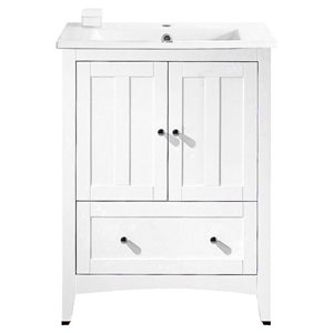 American Imaginations Xena Farmhouse 30-in White Bathroom Vanity with Ceramic Top