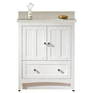 American Imaginations Xena Farmhouse 30.5-in White Bathroom Vanity with Quartz Top