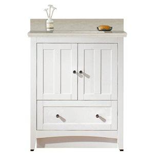 American Imaginations Xena Farmhouse 30.5-in White Bathroom Vanity with Quartz Top