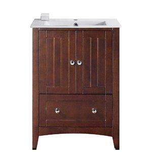 American Imaginations Xena Farmhouse 23.75-in Brown Bathroom Vanity with Ceramic Top