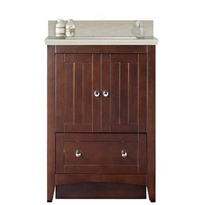 American Imaginations Xena Farmhouse 23.75 in Brown Bathroom Vanity with Ceramic Top