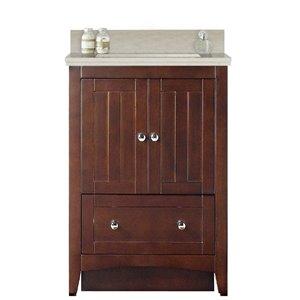 American Imaginations Xena Farmhouse 23.75-in Brown Bathroom Vanity with Quartz Top